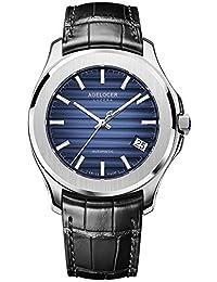 agelocer 艾戈勒 贝加尔湖系列 瑞士原装进口手表全景背透超大日历夜光男士自动机械表 深邃夜空黑皮带 全景背透 超大日历 男士机械手表 男士腕表(型号6304A1)