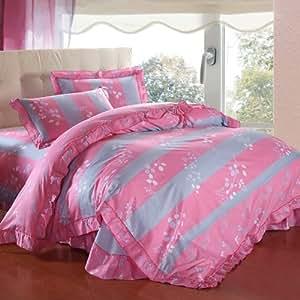卡米尔 全棉韩版公主床裙式花边四件套 纯棉床上用品 1.5m(5英尺)床 长裙漫舞