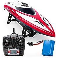 Force1 高速遥控船 - H102 适用于成人和儿童泳池和湖泊的遥控船,20 英里以上的速度,4 通道 2.4GHZ 遥控,耐用(红色)