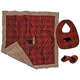 Carstens 盒装婴儿礼品套装 Red Plaid Bear
