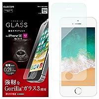 Elecom iPhone8 保護膜 全覆蓋 大猩猩玻璃 [采用PET邊框防止邊角碎裂] 可適用于iPhone7 黑色 PM-A17MFLGFGOBPM-A18SFLGGGO  001_iPhoneSE/5S/5/5C ガラス/Gorira 透明