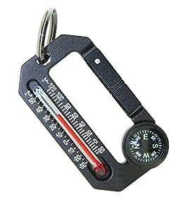 Sun Company HikeHitch 2 - 温度计和指南针登山扣 - 露营、远足和徒步旅行配件