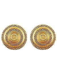 新! touchstone 印度宝莱坞艺术条纹 Motif Bridal 设计师首饰耳环女式复古金色