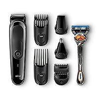 BRAUN 博朗 MGK3060 男士胡须修剪器,用于头部/脸部毛发修剪,套件配有4个梳子和吉列融合剃刀,13种终极精确度的长度设置