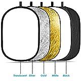 Neewer 120x180cm 五合一椭圆可折叠反光板 配备便携包 金/银/黑/白/柔光色