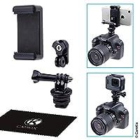 熱靴安裝適配器套件 - 將手機或 GoPro Hero 連接到 DSLR 攝像機的閃存支架 - 錄制照片拍攝或使用電話應用程序進行照明、監視或控制