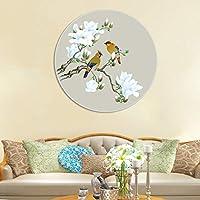 岸朵客厅沙发背景墙装饰画新中式卧室餐厅床头画玄关挂画圆形喜鹊图壁画 (50 * 50CM)