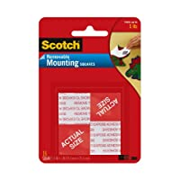 Scotch(R) Removable Mounting Squares, 1 x 1 Inches, 16 squares,Grey(108)