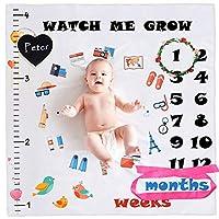 Swonuk Baby Monthly Milestone 毛毯摄影道具适用于新生儿男孩和女孩的婴儿襁褓浴巾礼物适合新妈妈,包含 1-12 个月婴儿(含框架和头带和小黑板