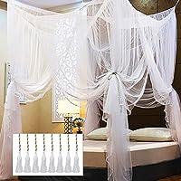 Twinkle Star 4 角柱床顶蓬,优雅窗帘网,适合普通双人床/大床/特大床(白色)