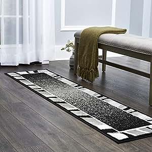 Home Dynamix Lyndhurst 扶手地毯 23.5 厘米 x 35.5 厘米,花卉边框蓝/灰色
