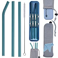 XTRAW 高级可重复使用玻璃吸管,带便携盒和保护袋,3 件套带吸管支架/保护器,清洁刷,清洁布,小麦草塑料盒