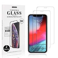 屏幕保护膜兼容 iPhone 11,2 件装 UNEXTATI 超薄钢化玻璃屏幕保护膜适用于 iPhone 11,9H 硬度,保护壳友好