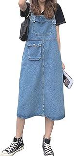 Hixiaohe 女式可调节肩带 A 字型牛仔连衣裙中长款牛仔吊带连衣裙