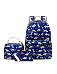 VIDOSCLA 3 件套背包小学生背包小学生书包学生背包带午餐盒