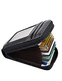 皮革钱包拉链 RFID 信用卡支架保护身份证窗口信用卡钱包
