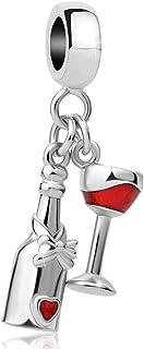 Sexymandala 闪亮*瓶和玻璃杯饰品 红*爱好者珠子适合潘多拉魅力手链