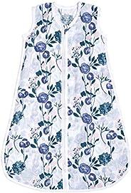 aden + anais Essentials 婴儿睡袋,* 纯棉平纹细布,可穿戴式襁褓毯,适合女孩和男孩,新生儿睡袋,TOG 评级 1.0,花朵绽放,中号,6-12 个月