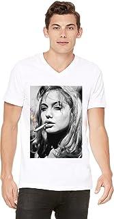 Angelina Jolie 吸*图案男士 V 领 T 恤