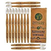 生物降解自然竹牙刷12个装不含 BPA 软白色毛