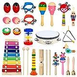 AILUKI 幼儿乐器,24 件 17 种木制激情乐器 Tambourine Xylophone 儿童学前教育,早期学习音乐玩具,男孩和女孩,带存储背包