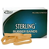 "Alliance Rubber 24825 Sterling Rubber Bands Size #82, 1 lb Box Contains Approx. 300 Bands (2 1/2"" x 1/2"", Natural Crepe)"