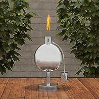 Pure Garden 50-220 桌面手电筒灯 - 25.4 厘米不锈钢户外燃油罐火焰灯,适用于香茅和玻璃纤维灯芯,适用于后院、庭院
