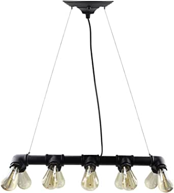 WinSoon 复古工业STEAMPUNK 灯具铁杆天花板鸟巢吊坠浅复古 10 Heads Black LIG2012
