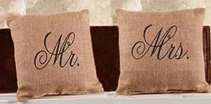 Mr. and Mrs. French Flea Market 粗麻布装饰抱枕套装 - 每个 20.32 cm x 20.32 cm 棕色 小号 B00I29ZXM6