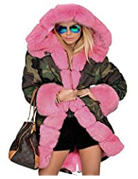 roiii 女式冬季迷彩加厚灰色皮草大衣长款连帽夹克外套