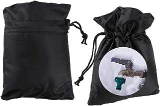 Anpatio 户外水龙头套,2 件装绝缘水龙头袜冬季防冻保护水龙头套适用于寒冬天气带拉绳黑色