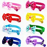 yasma 8 件分离式蝴蝶结猫项圈 - 带铃铛小猫项圈,8 件套,纯色*,尼龙,混合颜色,