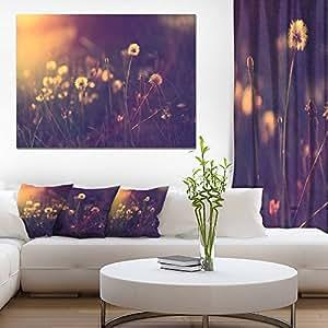 Designart PT14919-20-12 复古蒲公英照片帆布墙画,紫色,50.80x30.48 紫色 30'' H x 40'' W x 1'' D 1P PT14919-40-30