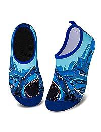 儿童水鞋女孩男孩幼儿防滑速干水袜适合海滩游泳散步 Big Shark 9.5-10 Toddler