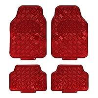JVL Titan 汽车脚垫 - 套装金属装饰带橡胶背面, 4 - 件 红色