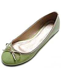 ollio 女式芭蕾鞋可爱珐琅丝带风格多色平