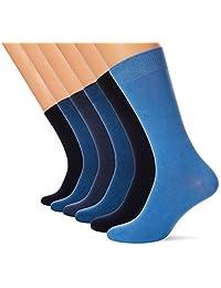 FM London 6 双男袜套装,带有 HyFresh 气味保护技术 | 英国尺码 6–11,多色可选,24 小时穿戴舒适柔软的礼服短袜