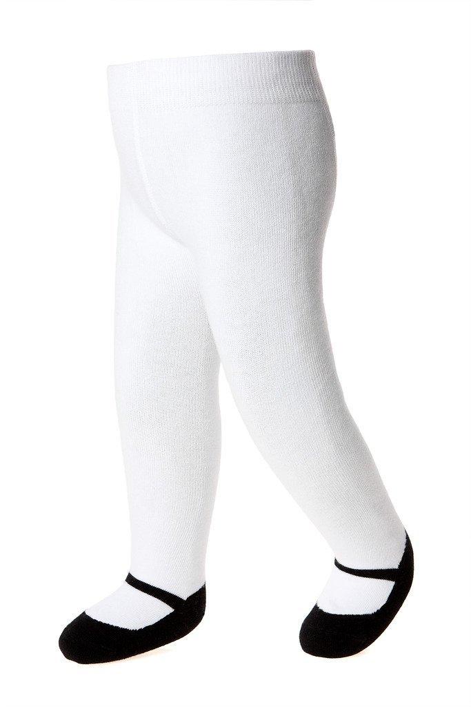 子供靴ベビータイツ - メアリー・ジェーン - 滑りにくい靴底 - 柔らかな黒の綿ニットの基本モデル0-6ヶ月