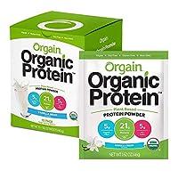 Orgain 植物蛋白粉 旅行裝,香草豆 - 素食,低凈碳水化合物,不含乳制品,無麩質,不含乳糖,不添加糖,不含大豆,猶太潔食,10包裝