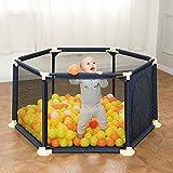 儿童游戏围栏球池组合 婴幼儿围栏安全防护栏 婴儿宝宝学步围栏爬行垫栅栏家用 (普通款(送200个海洋球), 深蓝色)