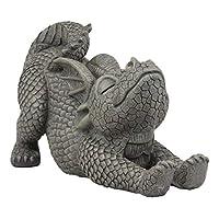 Ebros 花园龙雕像 25.4 厘米高可爱婴儿龙眨眼*人造石树脂饰面雕像 Faux Stone