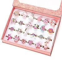PinkSheep 小女孩宝石戒指(包装盒内),可调节,无重复,女孩假装游戏和装扮戒指 36 Pink Ring