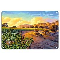 Pacifica Island Art - 葡萄園日落 - 葡萄*鄉藝術 Kerne Erickson - 精美藝術印刷品 多種顏色 8 x 12 in Tin Sign MTSACS158NL