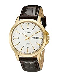Citizen 男式 BF2018-01A 金色不锈钢手表,配棕色真皮表带
