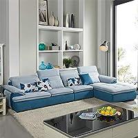 【下单赠价值998元真皮圆凳1个】ZUOYOU 左右 布沙发贵妃布艺沙发可拆洗现代客厅转角布沙发储物DZY3103 转二加休反向YR035-24天天天蓝