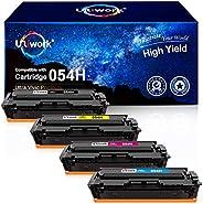 Uniwork 兼容硒鼓替换件适用于 Canon 054H 墨盒 054 CRG-054 用于彩色图像类别 MF644Cdw LBP622Cdw MF642Cdw MF640C LBP620 打印机(1 黑色 1 青色