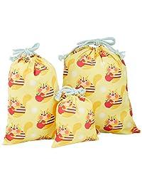 Solby 保育园 幼儿园 收纳杯子 荷包 3 件装 リス/イエロー