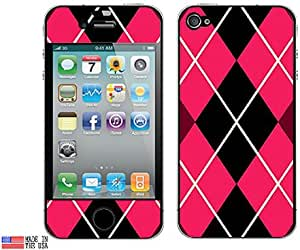 Graphics and More Protective Skin Sticker for Apple iPhone 4/4S - Set of 2 - Non-Retail Packaging - Argyle Hipster Pink