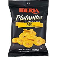 Iberia Garlic Plantain Chips (Pack of 24) Natural, No Preservatives, No Artificial Flavors & Color, 0 Trans Fat, Plantain Chips with Natural Garlic (Packaging May Vary)