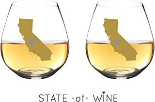 State -of- WIne 不易破损酒杯可用洗碗机清洗   套装   优雅塑料无柄酒杯   共聚酯纤维   可重复使用   送给德克萨斯州加利福尼亚州的理想礼物 California   Silver Heart